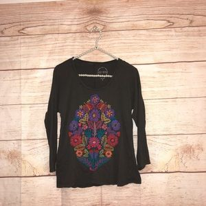 Lucky brand size small gray floral blouse